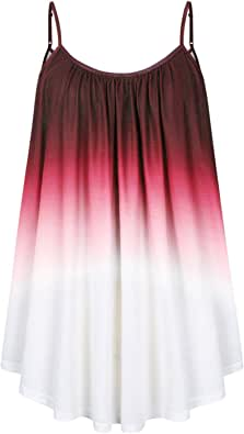AMZ PLUS Womens Plus Size Tank Tops Loose Sleeveless Spaghetti Strap Camisole