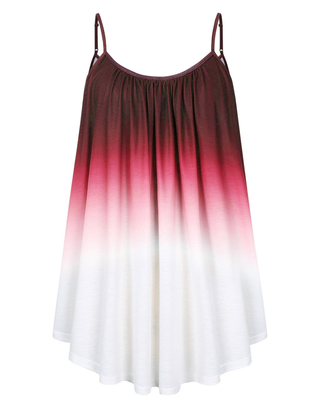 AMZ PLUS Women's Casual Gradient Spaghetti Strap Plus Size Cami Tank Top Dark Red 4XL