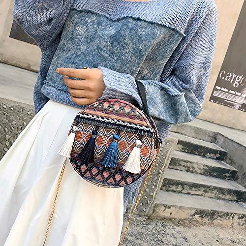 De Mode Esprit sacs Bandouliere A Main Dodumi Chaîne National Ins Gland Bleu Mango Paquet Petit Sac Femmes Portable Feu sacs Rond La Vent femme Femme Super In57qYEvq
