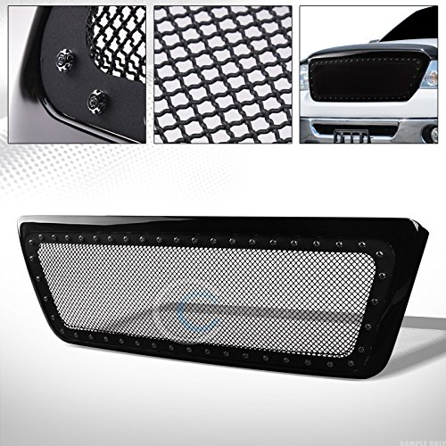 S&T Racing Glossy Black Finished Rivet Steel Wire Mesh Front Hood Bumper Grill Grille Cover for 2004-2008 Ford F150