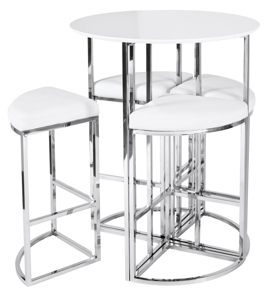 Super New Dwell Style White Orbit Bar Table Set 4 Chairs Amazon Caraccident5 Cool Chair Designs And Ideas Caraccident5Info