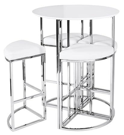 Fantastic New Dwell Style White Orbit Bar Table Set 4 Chairs Amazon Customarchery Wood Chair Design Ideas Customarcherynet