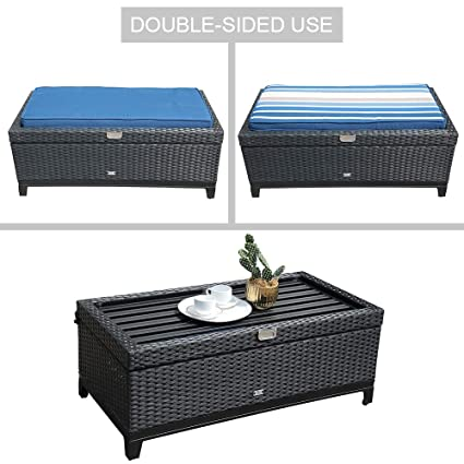 Orange Casual Aluminum Frame Resin Wicker Storage Bench With Tea Table  Function,Black Rattan And