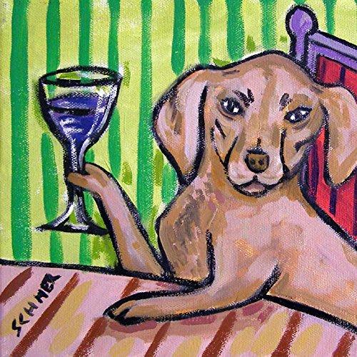 Vizsla at the wine bar dog art tile coaster gift gifts prints for skateboarder