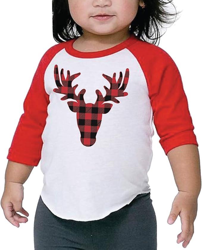 Girls T-Shirt Cute Reindeer With Big Antlers Wearing Red Scarf Kids Boys