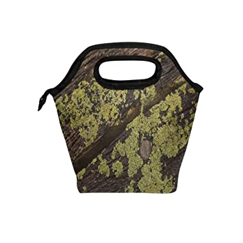 18ab0a19daf0 Amazon.com: Your Home Floor Wood Moss Green Brown Lunch Tote Bag ...