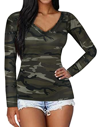 T Femme Shirt Longues Haut Manches Top Isassy Camouflage SVqUMpzG