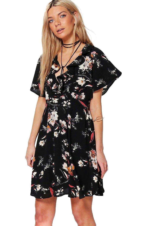 Damen Schwarz Sabra Elegantes Sommerkleid Mit Blumen-print, Rüschen Und Bindung