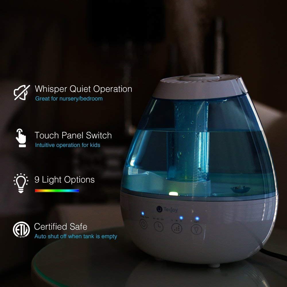 Tekjoy Cool Mist Humidifier, Premium Ultrasonic Humidifiers 7 Night Light Bedroom Baby, Whisper Quiet, Auto Shut-Off, 360° Nozzle, Touch Panel, Timer, Filterless Vaporizer by Tekjoy (Image #3)