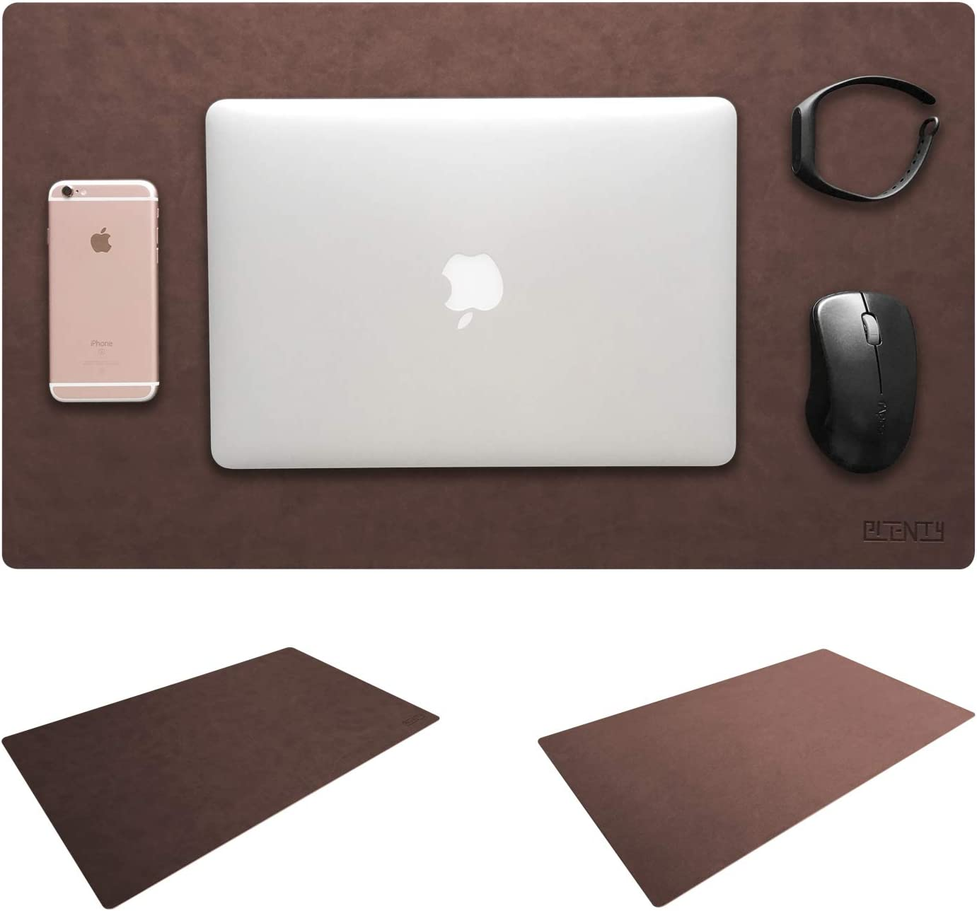 "Leather Desk Mat & Mate 24"" x 15"" Non-Slip Smooth Writing Desk Pad Protective Mat Protector Mouse Pad for Desktops and Laptops (Brown)"