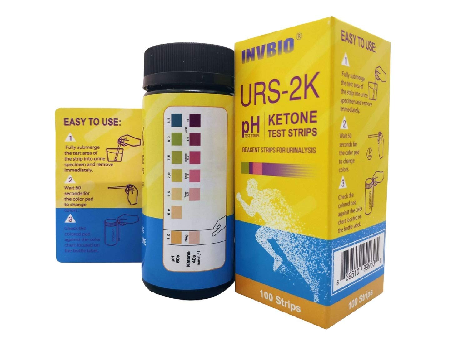 INVBIO pH+Keto 2-in-1, Urinalysis Urine Test Strips 2 Parameter, 100ct - pH and Ketone Urine Test Strips to Test and Monitor Ketosis for Low Carb Diet, Alkaline and Acid Levels in Your Body