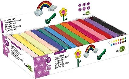 Plastilina liderpapel en barras de 150 gramos - caja de 15 unidades colores surtidos.: Amazon.es: Oficina y papelería