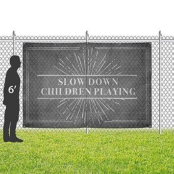 CGSignLab 12x8 Slow Down Children Playing Chalk Burst Wind-Resistant Outdoor Mesh Vinyl Banner