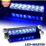 LED-MARTIN® 8W LED Straßenräumer V2.0, Frontblitzer (Lichtfarbe: blau) - MEMORY Funktion - 3W LEDs