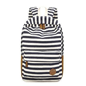 Q.KIM Moda Colorido Rayas Tela Lona Backpack Mochilas Escolares Mochila Escolar Casual Bolsa Viaje Mujer Azul oscuro: Amazon.es: Equipaje
