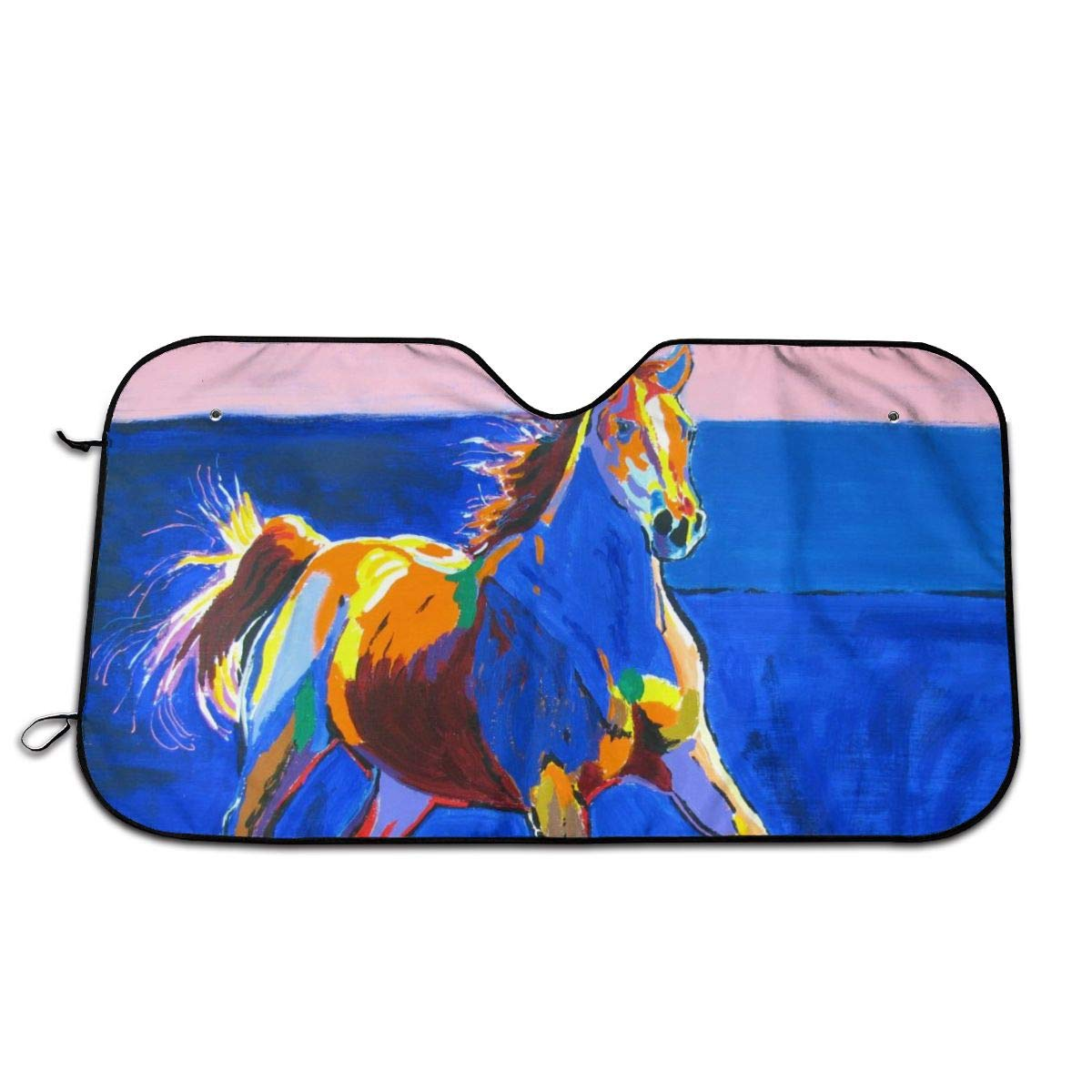 Horse Paint Car Sunshade 51.2 * 27.5 in Oxford Cloth + Pearl Aluminum Film Heat Resistant, Effectively Protect Your Car Interior from Aging by Rojia
