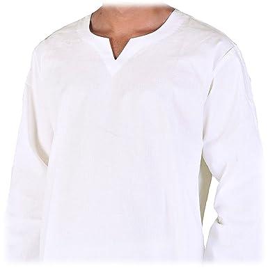 nuovo prodotto 4db17 5ef0d Maha Ranis Indiano Camicia Kurti per l' Uomo Cotone Bianco