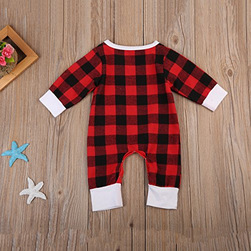 Newborn Baby Boys Girls Long Sleeve Christmas Deer Print Plaid Romper (3-6 Months, Red)