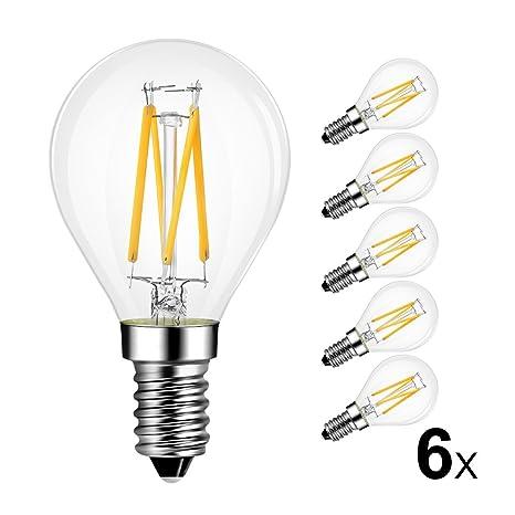 Hehui - Bombilla LED de filamento de 4 W E14, 2700 K, G45,