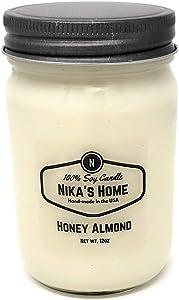 Nika's Home Honey Almond 12oz Mason Soy Candle