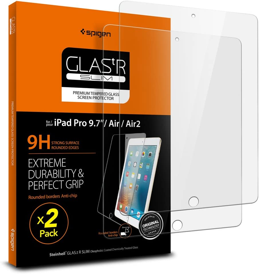 Spigen Tempered Glass Screen Protector Designed for iPad 9.7 (2018/2017) / iPad Pro 9.7 (2016) / iPad Air 9.7 (2013) [9H Hardness/Case-Friendly] (2 Pack)