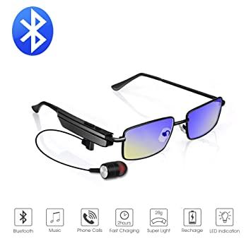 3c3e31f1819 Amazon.com  Bluetooth Myopic Glasses Lightweight Stainless Steel Frame  Blue-ray Anti-radiation Lenses Adjustable nose pads with Wireless Stereo BT  4.1 ...