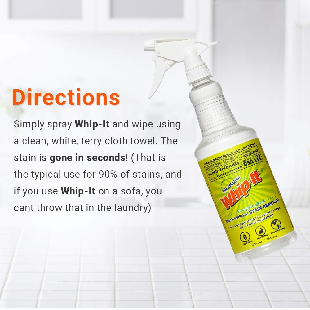 Whip-It Stain Fighting Kit Multi-Purpose Stain Remover - Plant-Based with All 6 Enzymes - All Natural - Made in USA