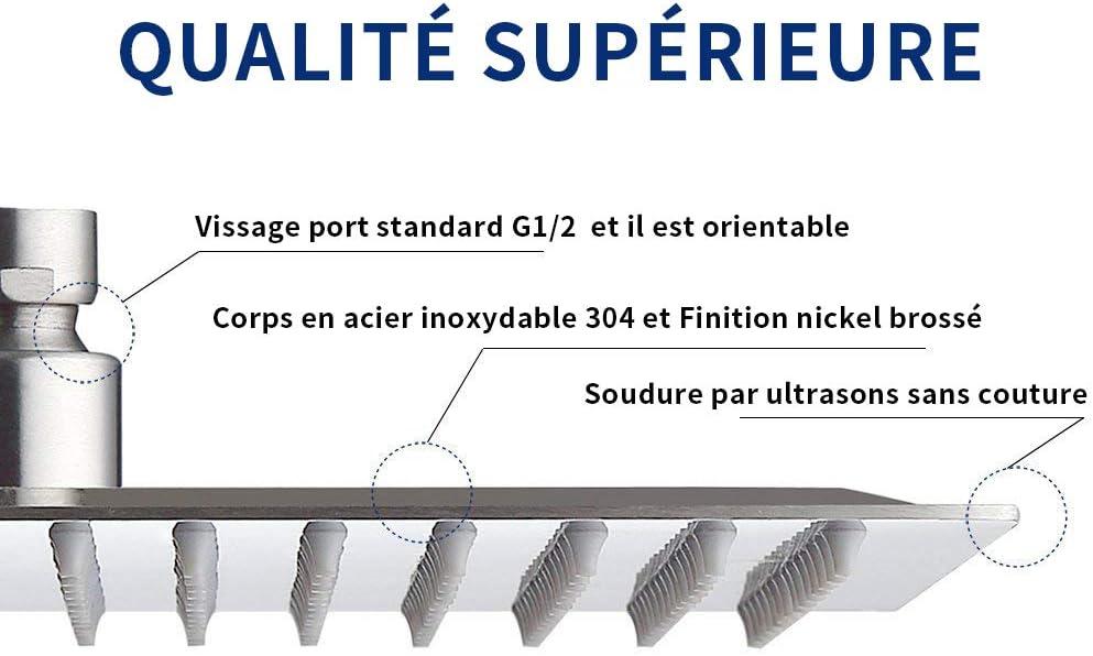 20cm//8in Carr/é 121 Jets Nickel bross/é Pommeau douche Derpras pomme de douche /à jet pluie T/ête de Douche Douchette Ultra-Mince /à Haute Pression en Acier Inoxydable 304
