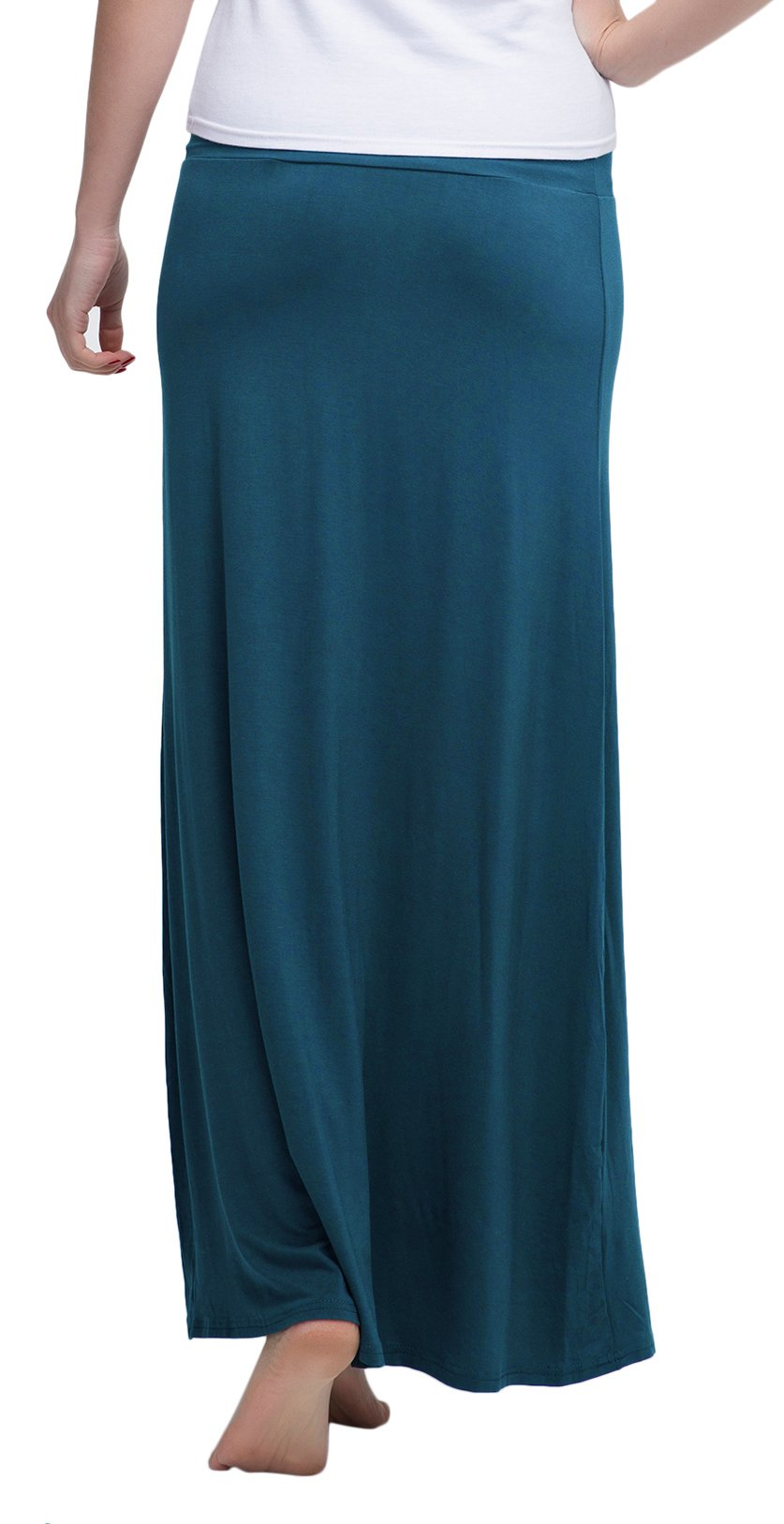Urban CoCo Women's Stylish Spandex Comfy Fold-Over Flare Long Maxi Skirt (M, Steel Blue)