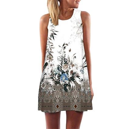 Review FORUU Womens Girls Vintage Boho Summer Sleeveless Beach Printed Short Mini Dress