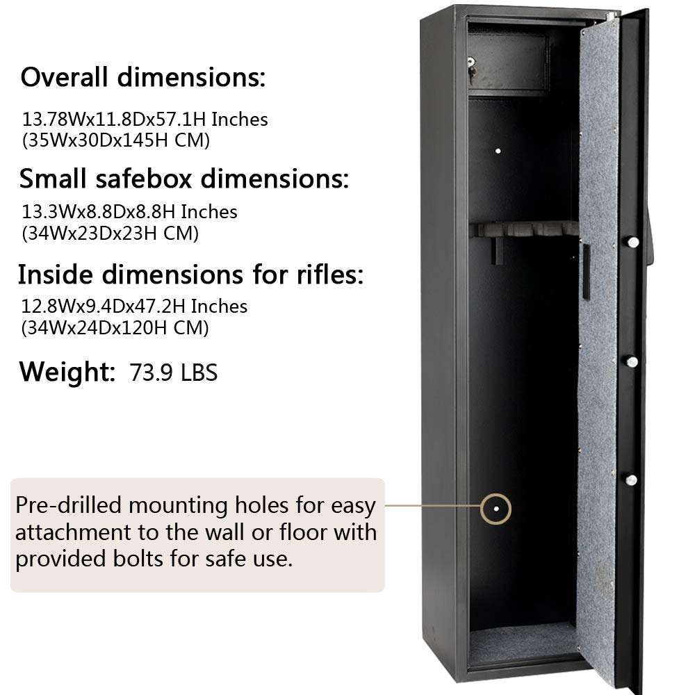 Rifle Gun Safe Large Firearms Shotgun Safe Cabinet Electronic 5 Gun Security Cabinet with Small Lock Box for Handguns Ammo┃Codes Memory Function┃Upgraded Honeycomb Box Packaging by FCH (Image #6)