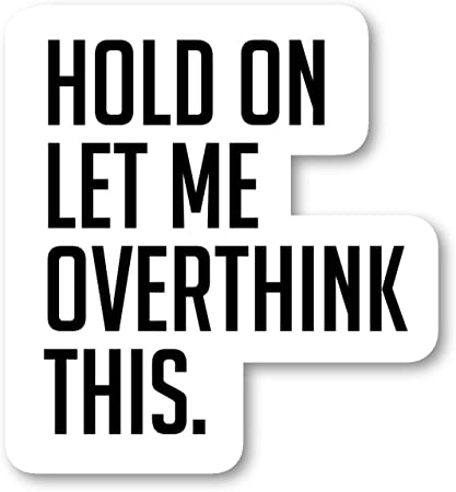 Hold On Let Me Over Think This Sticker Funny Quotes Stickers - Laptop  Stickers - 2.5\