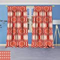 Philiphome 2 Panel Set Digital Printed Window Curtains,Comb Pattern Geometrical Tile Graphic Artwork Vintage Design Peach Coral Dark Coral for Bedroom Living Room Dining Room