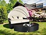 Cloud Mountain 4 Piece Patio Wicker Canopy Daybed Outdoor Cushioned Rattan Furniture Daybed Set Round Retractable Garden Lawn Sectional Sofa Furniture, Creamy White Cushions Black Rattan