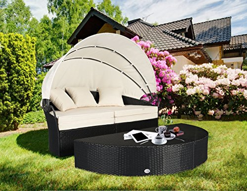 Cloud Mountain 4 Piece Patio Rattan Round Canopy Daybed Outdoor Cushioned Wicker Furniture Daybed Retractable Garden Lawn Sectional Sofa Set, Black Rattan Creamy White Cushions (Round Outdoor Day Bed)