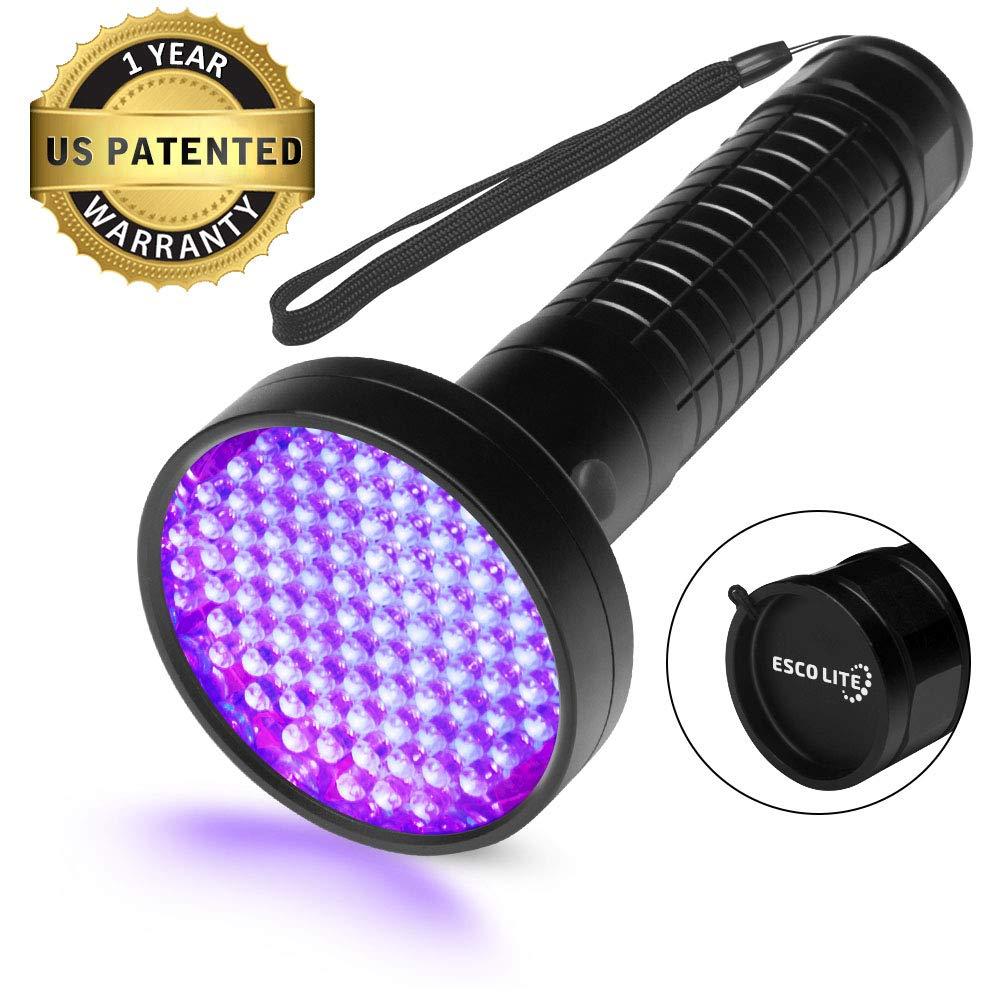 Escolite UV Flashlight Black Light, 100 LED 395 nM Ultraviolet Blacklight Flashlights Detector for Dog Urine, Pet Stains and Bed Bug by ESCO LITE