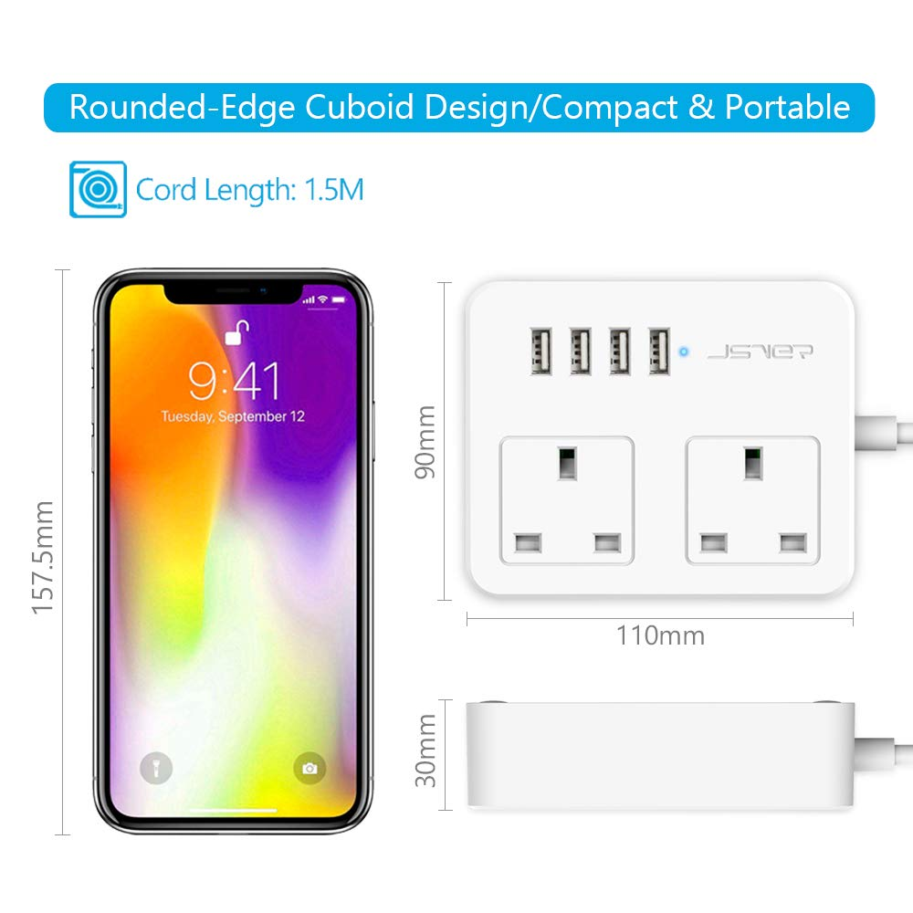 3 Way Desktop Power Strip USB Charging Station UK Socket Surge Protecter with 2 Meter Cord for Home Travel JSVER Extension Lead with 4 USB Ports 5V//3.1A Black