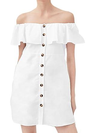 69ff56152593 Women s Off Shoulder Dress Button Down Ruffle Mini Party Dresses White S