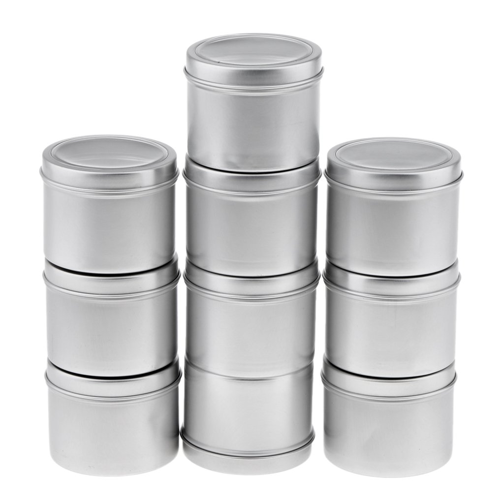 Baoblaze 10pcs 100G Refillable Silver Round Empty Aluminum Metal Tin Mini Jar Container with Clear Cap Lid for Candle, Beauty, Skincare, Cosmetics, Make Up, Balm, Salves