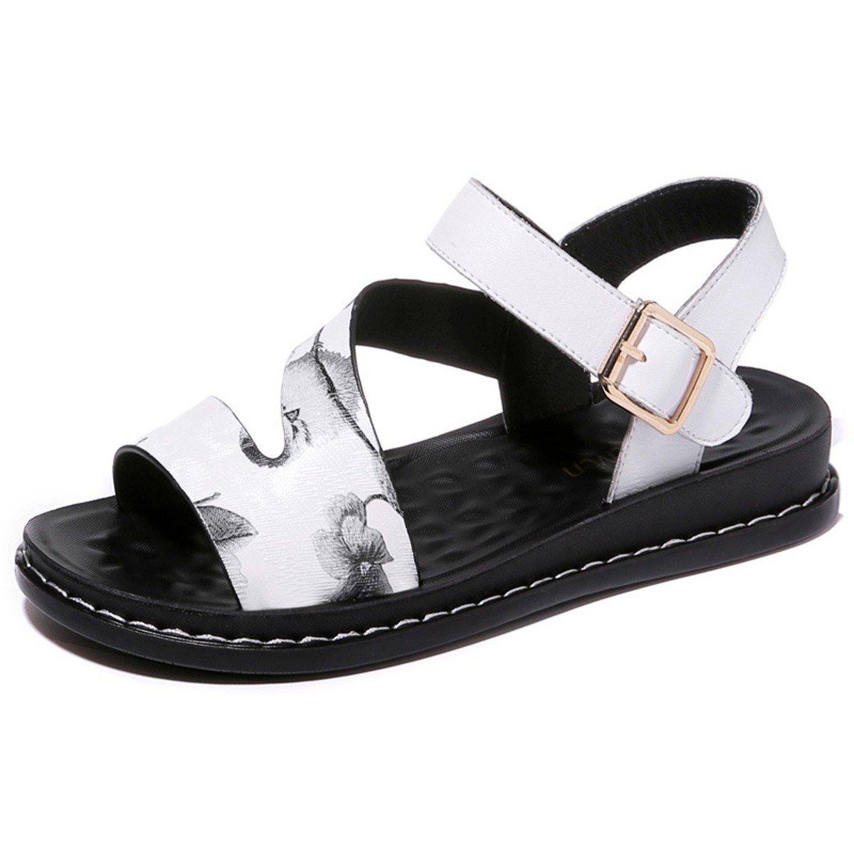 GTVERNH Damenschuhe Frauen Sind Flache Sandalen Boden Zehen Im Sommer Studenten Hang Hacken Frische und Wild.