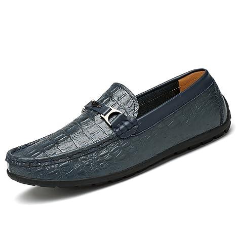 Jiuyue-shoes Hombre mocasín Resistente al talón Plano, Mocasines Textura de Piel de cocodrilo
