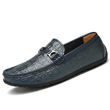 Jiuyue-shoes Hombre mocasín Resistente al talón Plano, Mocasines Textura de Piel de cocodrilo Slip on Resistente Loafer Resistente (Color : Azul, ...