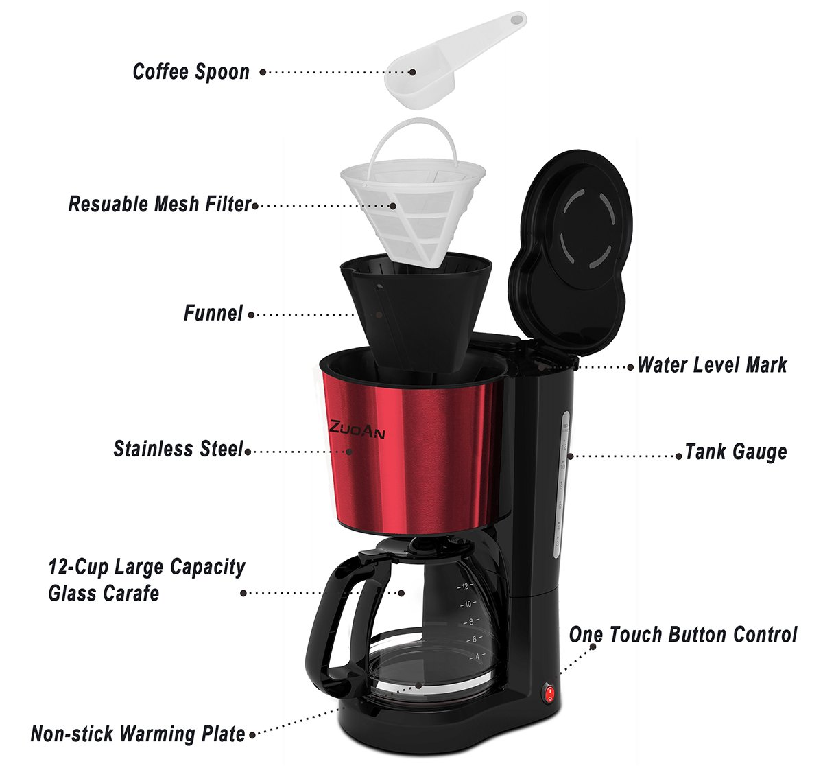 Coffee Make 12-Cup Drip Coffeemakerr,ZuoAn With Glass Coffee Pot and Reusable Mesh Filter, Stainless Steel Coffee Machine,Black Large Capacity, CM-601 Black+Red (Black+Red) by ZUOAN (Image #2)
