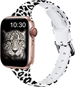 Nofeda Bands Compatible with Apple Watch Band 38mm 40mm iWatch Series 6 5 4 3 2 1 & SE, Slim Silicone Printed Fadeless Replacement Strap Band for Women Men, Black Leopard
