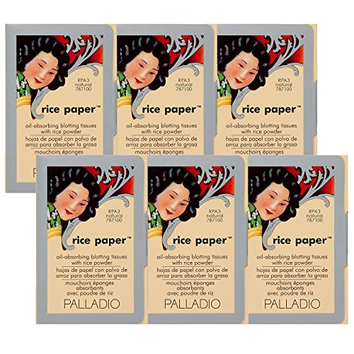 Palladio Rice Paper Tissues Natural 40 Sheets (Pack of 6) Face Blotting Sheets with Natural Rice Powder