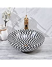 BULUXE Vessel Circular Natural Stone Bathroom Wash Sink Bowl Shape Mosaic Design