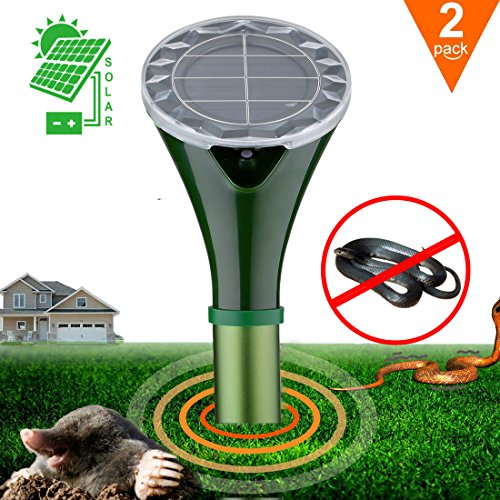 Hunter's Pest Control 2 X Solar Silent Snake Repellent Mole Repeller Spike Help You Get Rid of Snake Mole Gophers for Outdoor Garden Yard