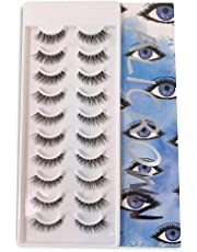 ALICROWN Natural Mutipack False Eyelashes 10 Pairs Fake Lashes BLUE
