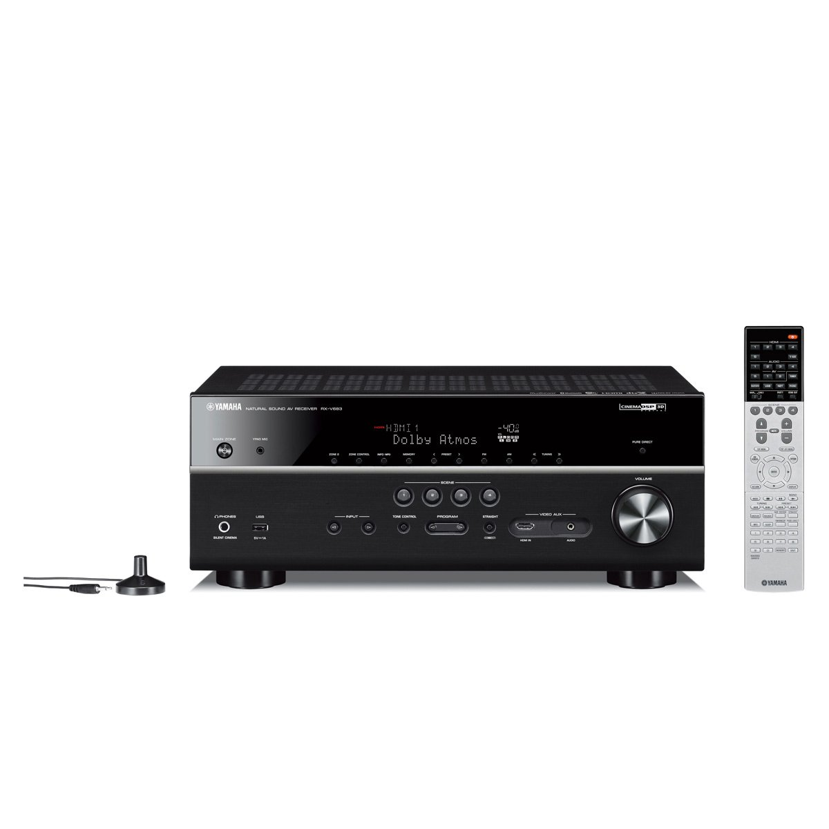 Amazon.com: Yamaha RX-V683 7.2 Channel AV Network Receiver with Dolby Atmos and DTS:X Surround Sound with WX-010 MusicCast Wireless Speaker (Black): Home ...