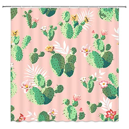 Tropical Cactus Decor Pink Shower Curtain Green Plants Blossoming Flowers70x70 Inch Waterproof Polyester
